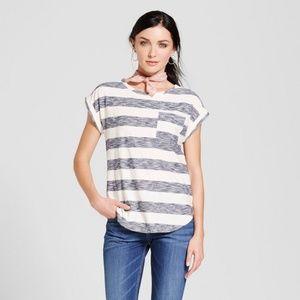 Merona Tops - Women's Striped Cuffed T-Shirt - Merona Navy XS